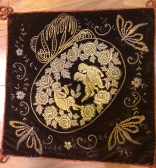 19th.century Greek embroidery cushion cover silver thread on velvet.size 55 x 55 cm