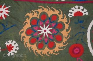 Uzbek suzani .silk on silk embroidery.19th.century.size 330x 210 cm.good condition.