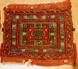 19th.century Kozak(Bergama)a pair bagface,perfect colors ,good condition.size 46 x 41 cm