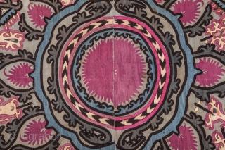 Djzak suzani,late 19 th.century.unusual green main color.size 220x 130 cm.