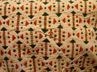 Turkmen applique Asmalyk.wool patches on cotton.size 89 x 116 cm