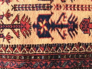 Baluch animaltree prayer rug, soft camel field  Early 20 th.c. Woll on woll.