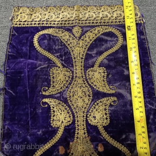 Ottoman era gold wire crushing embroidered velvet piece. its dimensions are indicated in the pictures.