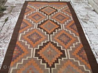 Antique Hand wowen kilim rug  size=13'7x5'2 ft