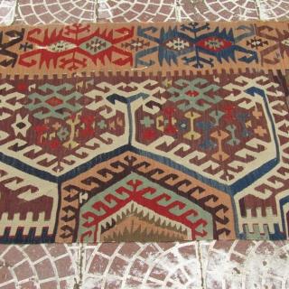 Antique Central Anatolian  Aksaray or Capadocia kilim half size=396x84