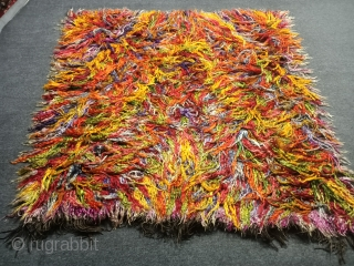 Unique West Anatolian mohair (angora) tiftik rug Size=162x157 cm Freeshipping usa and europe