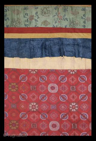 A 19th century Tibetan Silk Temple Banner. Dimensions: 67 x 37 inches (170 x 94 cm.)