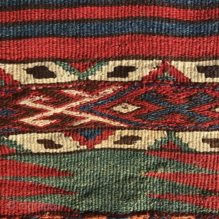 Antique Anatolian part of a chuval, end of 19th, saturated, fabulous glowing colours, goat hair warps, 102x92cm, gently washed.