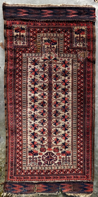 Antique Baluch, 185x88cm, all good colours including some light green silk, original endings and selvedges. a few old repairs in the upper part.