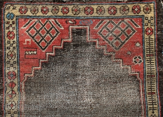 Antique Hamedan rug, first half of 19th century or even older, 120x72cm. The twin wefting means that the rug is older than usual. Single wefting seems to have originated in the Hamedan  ...