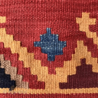 Small Persian kilim, 73x66cm, all natural colours, beautiful forget me not blue, goat warps, mint condition, gently washed.