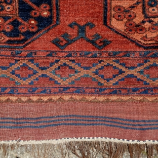 Looking for a good home to add warmth and character....  Ersari main carpet,300x220cm, circa 1900, with original kilim ends,all natural colours, an old minor repair, some wear, in need of a tender wash.Selvedges  ...