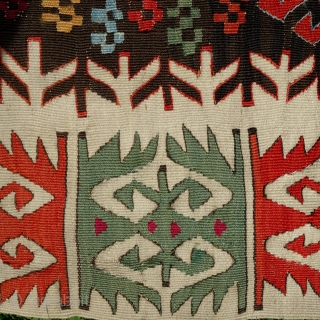 Antique Nigde kilim, mid to last quarter of 19th century, 350X160cm. Fabulous, saturated colours, lustrous wool. Alas it has been cut in the middle to be used as 4 fragments, some tiny  ...