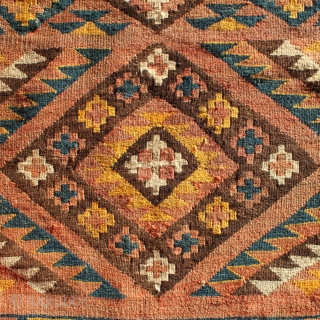 Moghari kilim from east Afghanistan, 340x130cm, beginning of 20th century. Handspun wool, all natural colours. Perfect condition, no repairs.