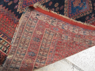 Early 20 th c. Afshar rug, wool on wool , organic dyes nice green,fine weave , good condition . 190-127 cm .
