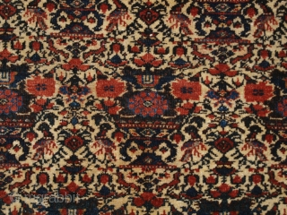 Antique Abedeh rug with the classic Zili Sultan 'vase and peacock' design, the rug has excellent soft colours on an ivory ground. www.knightsantiques.co.uk   Size: 7ft 5in x 5ft 0in (227 x 152cm).  ...