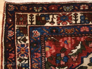 Antique Persian Bakhtiari rug of the garden design with a large vase. www.knightsantiques.co.uk   Size: 6ft 6in X 4ft 8in. (197 X 143cm).  Circa 1900/20.   A good example of a garden rug with a  ...