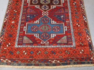 Antique Eastern Anatolian Kurdish Yuruk long rug with four medallion design. www.knightsantiques.co.uk   Size: 7ft 5in x 3ft 8in (227 x 113cm).  Circa 1890.  An excellent example of a Yuruk long rug, with a classic  ...