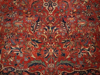 Antique Persian Bijar carpet of small medallion design with excellent natural dyed colours throughout. www.knightsantiques.co.uk  Size: 12ft 6in x 8ft 10in (382 x 270cm).  Circa 1880.  The carpet has a beautifully drawn small  ...