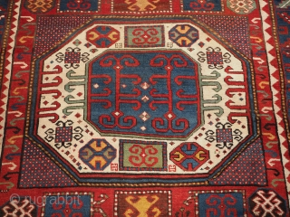 Antique Caucasian Karachov Kazak rug of classic design on a red ground. www.knightsantiques.co.uk  Size: 7ft 4in x 5ft 4in (224 x 163cm).  Circa 1880.  A good example of a Karachov Kazak rug with  ...