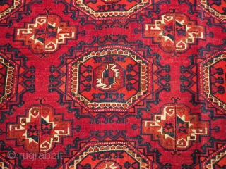 Antique Tekke Turkmen rug of good size, with fine weave, superb Cochineal colour. www.knightsantiques.co.uk  Size: 7ft 5in x 5ft 1in (227 x 154cm).  Circa 1900.  This is an good example of a Tekke  ...