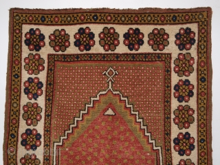 Antique Turkish Monastir prayer rug of classic minimalistic design with superb rose red field. www.knightsantiques.co.uk Size: 4ft 11in x 3ft 3in (151 x 100cm).  Circa 1900.  The rug has very soft wool and a  ...