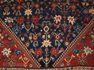 Antique South West Persian Kashkuli Qashqai rug with floral design. Note the unusual bird border. www.knightsantiques.co.uk Size: 7ft 7in x 4ft 9in (230 x 144cm).   Circa 1900.  A very attractive rug by the  ...
