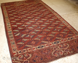 Antique Yomut Turkmen main carpet with the 'Dyrnak' gul design and superb large elem panels at both ends. www.knightsantiques.co.uk   Circa 1850/70.  The carpet has a rich brown ground colour with some very nice  ...