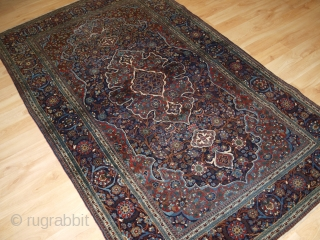 Antique Persian Kork Kashan rug of traditional large medallion design. www.knightsantiques.co.uk   Circa 1900.  This is a very finely woven rug from the workshops of Kashan, the rug is made using 'Kork' wool, this  ...