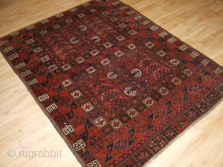 Antique Ersari Turkmen ensi of traditional design with excellent colour. www.knightsantiques.co.uk   Circa 1890.  Ensi were door hangings used to cover the entrance to a yurt.   This example is woven with the traditional Ersari  ...