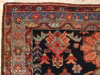 Antique Kurdish rug from the Greater Hamadan region, Mehraban district or from Borodjert village. www.knightsantiques.co.uk   Circa 1900.  The design is most unusual, with large floral rosettes in soft pastel colours floating on a  ...