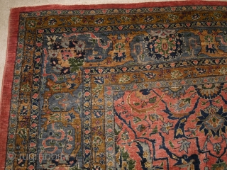 Antique Persian Tabriz carpet with all over design and a soft colour palette. www.knightsantiques.co.uk   Circa 1900.  This is an excellent furnishing carpet in hard to find soft colours, the soft pink field is  ...