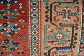 An antique Konya rug, woven in 2 halves, with some patches, losses to ends and a big hole. But mainly in good pile. All good dyes. Funky border! 1st half 19th century.  ...