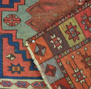 A good and very unusual east Anatolian Kurdish rug of excelent quality, with very clear dyes and strong graphics, filthy, worn and holed - alas poor yoruk.....! Very fresh to the market  ...