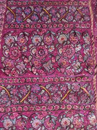 """Rather intense Persian silk embroidery fragment of advanced age, w/ saturated color and dense threadwork. 9"""" x 20"""". At least 19th C, maybe earlier?  Don't know. Not sure what it was  ..."""