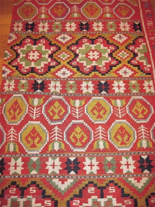 Swedish rolakan blanket/cover (half), dated 1807 and initialed. Exceptional colors and condition.
