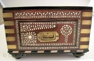 """Anglo-Indian portable writing desk, c. 1825. In exceptional condition, with exquisite workmanship.  18""""L x 12""""D x 8""""H.  Rosewood inlaid with ivory and ebony, brass fittings. Original key included."""
