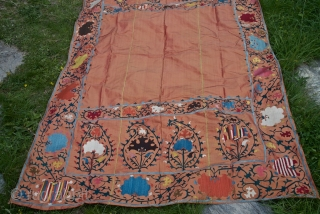 Silk Suzani on silk. 133 X 228 cm. Fresh and vivid colors, late XIX century, good condition.