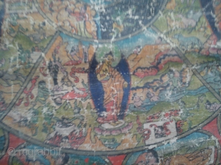VERY OLD RARE TIBET THANGKA PAINTING: Tibetan Wheel of Life (Bhavacakra).