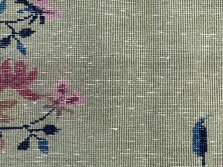 Nichols Chinese, early 20th century, 3-7 x 5-9 (109 x 175), rug was hand washed, good pile, bird, butterfly, vase, few white knots, high definition pics available, plus shipping.