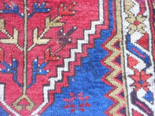Turkish Bergamo Yastick, late 19th century, 2 x 3-3 (.61 x .99), rug was hand washed, floppy handle, good pile, browns browns oxidized, 6 small holes/tears on weak left edge, end loss  ...