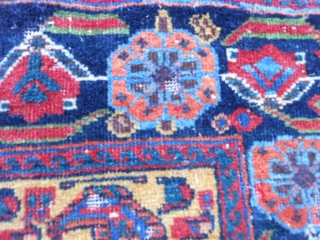 Persian Afshar Bag face, late 19th century, 1-7 x 1-8 (.48 x .51), rug was hand washed, saturated colors, great orange, green, gold, floppy handle, slight moth damage, 2 inch soumac piece  ...