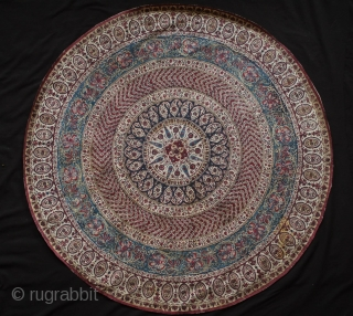 Kalemkar, Isfahan, Late 19th Century.  Very fine cotton as well as the blockprint workmanship.  The backing is a silk fabric meticulously stitched onto the kalemkar in concentric circles to prevent  ...