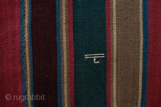 Shahsavan Jajim, 19th Century, on the early side possibly close to the beginning of the 19th century.  Stipes are wide and the colors are deep and settled.  Some areas of  ...
