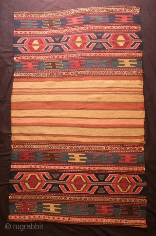 Shahsavan Hashtrud mafrash long panels and bridge. Late 19th Century.  Wonderful mellow colors especially on the bridge/bottom panel which has an alluring soft salmon hue against beige-tan stripes.  A small  ...