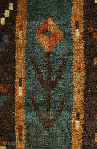 Balkan/Bulgarian Kilim, 4th Quarter of the 19th Century. Very unusual and wonderfully joyful arrangement of the floral designs. Exceptional and rare. 115 x 364 cm