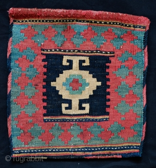 Shahsavan chanteh, late 19th Century. Compelling single central kochanak design.  Good colors in a muted palette. Hashtrud group. 28 x 31 cm.
