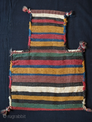 Shahsavan Salt Bag, Fourth Quarter of the 19th Century.  Extra-weft wrapped designs. Incredible colors and all natural.  48 x 53 cm from top to bottom.
