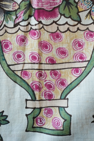 Anatolian Block Print from Tokat.  Late 19th/early 20th century.  This is an extraordinarily elegant and fine block printed thin cotton textile. The vase and floral arrangements are wonderfully articulated.   ...