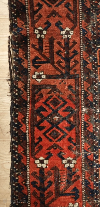 Salar Khani Baluch Rug, 3rd quarter of the 19th century or older. Wonderful Torbat-e Haidari area border also seen in Kashmar area rugs.  The field is not overly crowded as can  ...